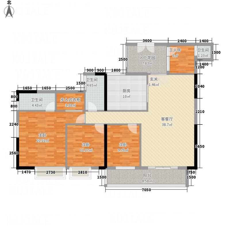 后海名门153.00㎡二单元11户型4室2厅3卫1厨