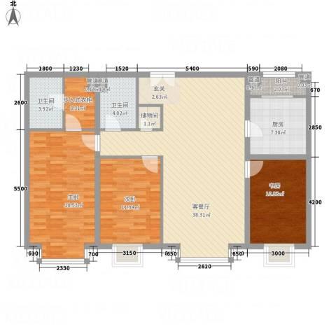 新世界花园�景华庭3室1厅2卫1厨143.00㎡户型图