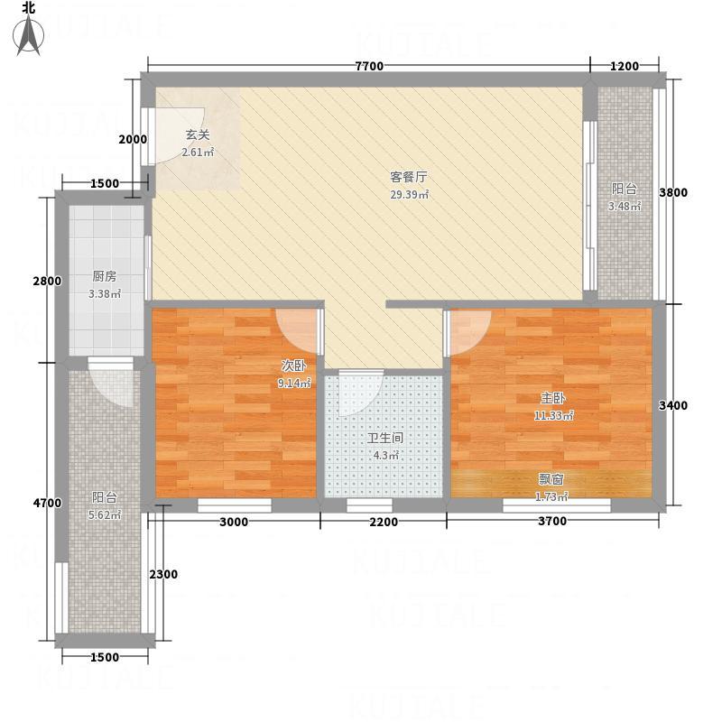 坤澜香堤8.00㎡8#标准层户型2室2厅1卫1厨