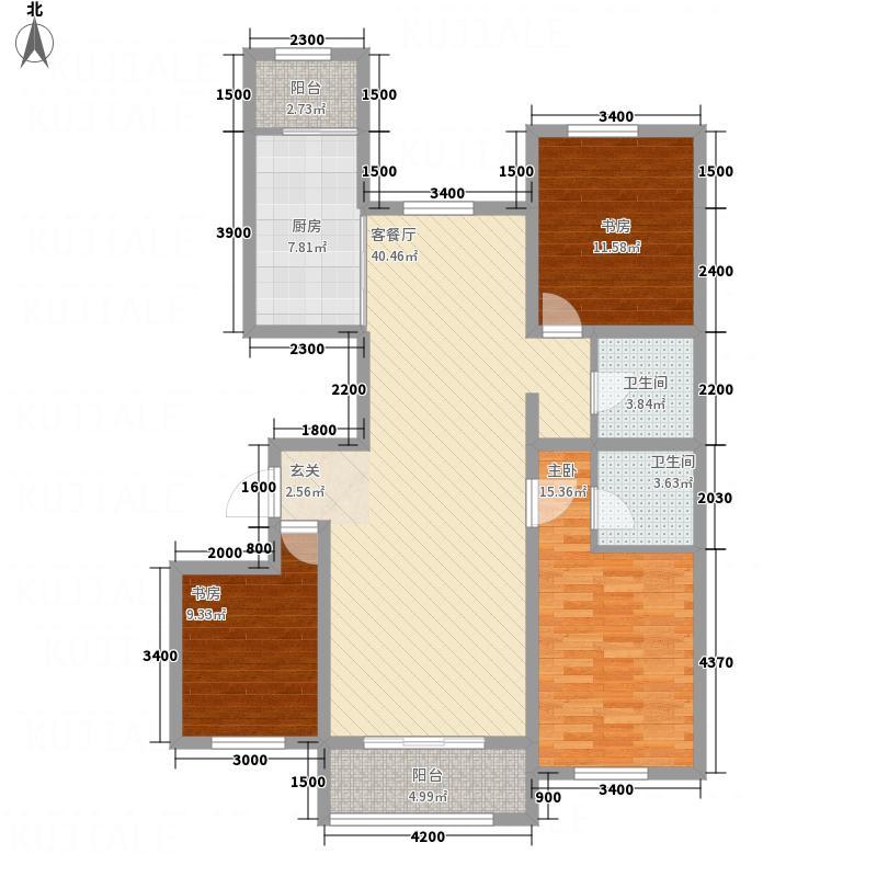 融强御品13.74㎡标准层3f户型3室2厅2卫1厨