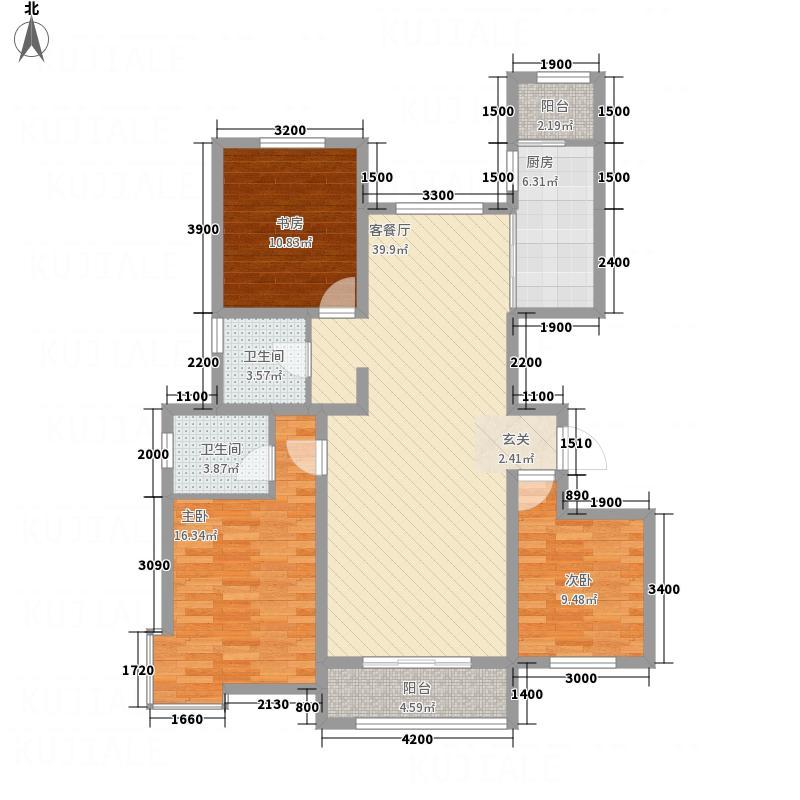 融强御品137.50㎡标准层3e户型3室2厅2卫1厨