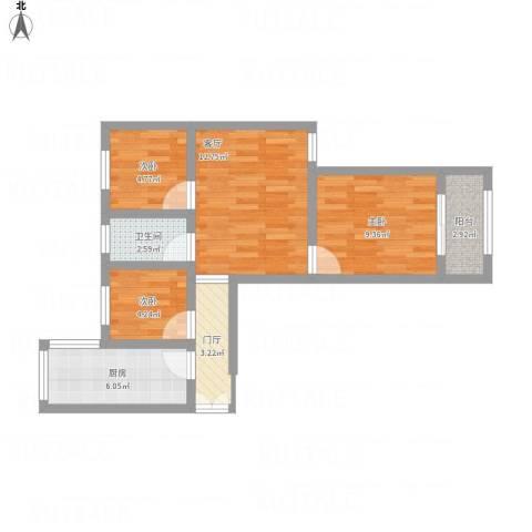 宝祁雅苑3室1厅1卫1厨70.00㎡户型图