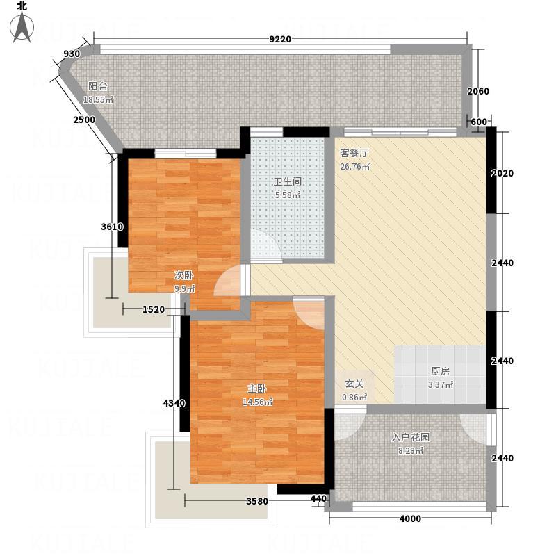 �达公寓两居室18户型2室1厅1卫1厨