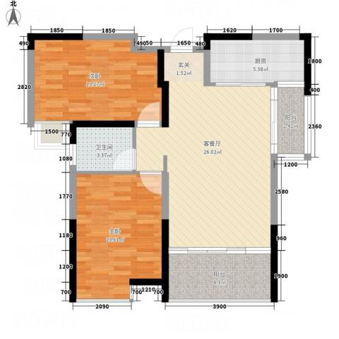 博林金谷四期2室1厅1卫1厨90.00㎡户型图