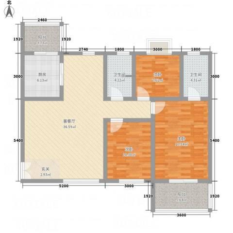 帝上龙园3室1厅2卫1厨123.00㎡户型图