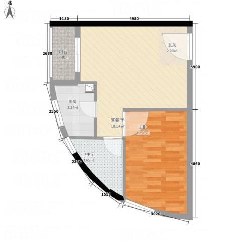 花明大厦1室1厅1卫1厨56.00㎡户型图