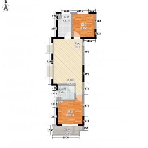 兴业春天二、三期2室1厅1卫1厨82.00㎡户型图
