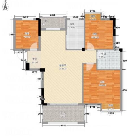 翰园小区3室1厅1卫1厨130.00㎡户型图