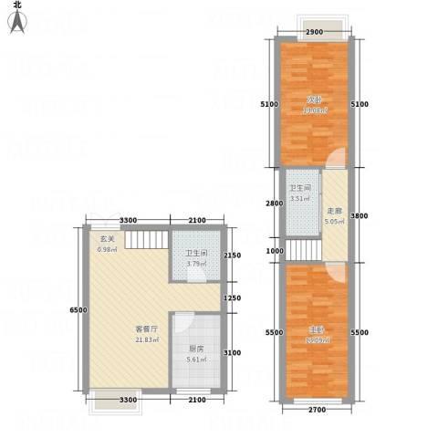 西岸国际2室1厅2卫1厨65.95㎡户型图