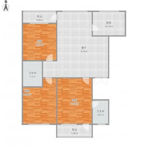 重汽嘉祥苑3室1厅2卫1厨174.00㎡户型图