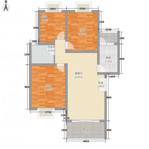 兴隆城市花园二期3室1厅1卫1厨113.00㎡户型图