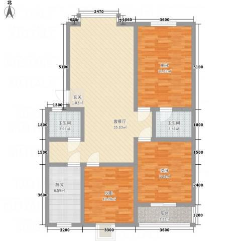 昌华东门逸都3室1厅2卫1厨130.00㎡户型图
