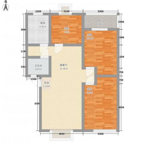 昌华东门逸都3室1厅1卫1厨113.00㎡户型图