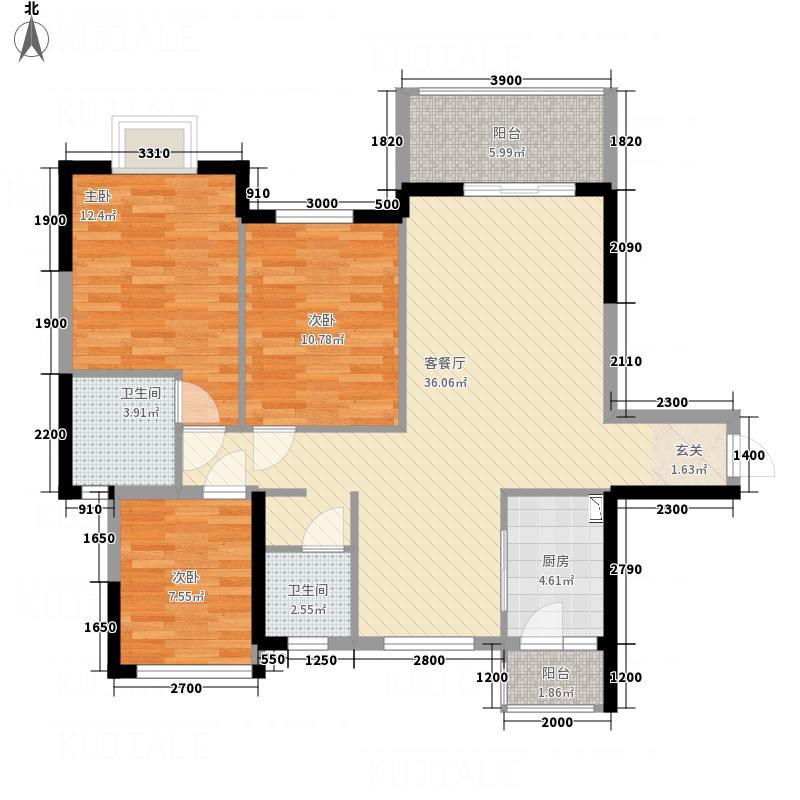 瀚林银座1.84㎡11#楼01户型3室2厅2卫1厨