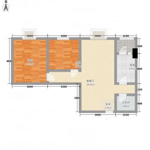 昌华东门逸都2室1厅1卫1厨91.00㎡户型图