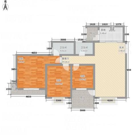 兴隆城市花园二期3室1厅2卫1厨145.00㎡户型图