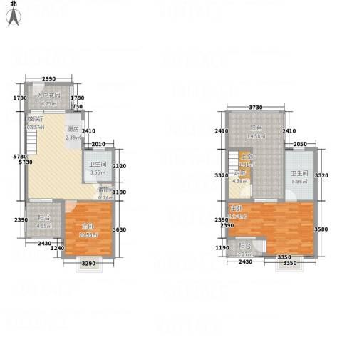 亚龙湾翡翠谷三期2室1厅2卫0厨87.46㎡户型图