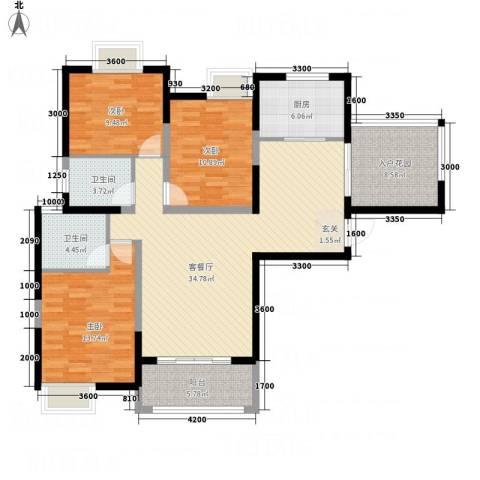 汉口西园3室1厅2卫1厨139.00㎡户型图