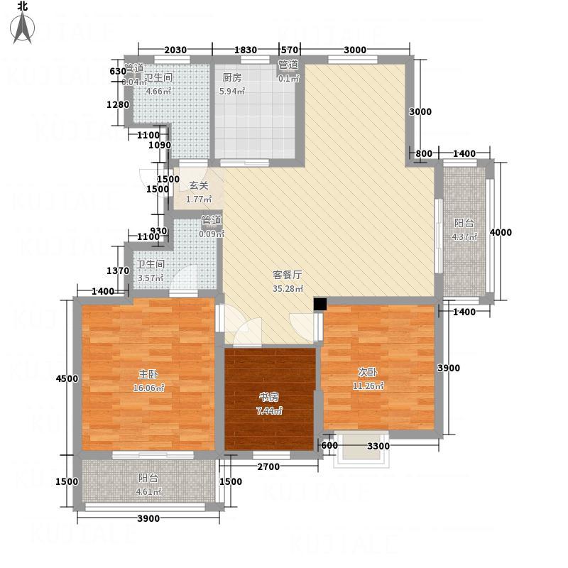 名门嘉苑11121.48㎡A10号楼1单元3室户型3室2厅2卫1厨