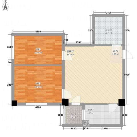 想想大厦2室1厅1卫1厨90.00㎡户型图
