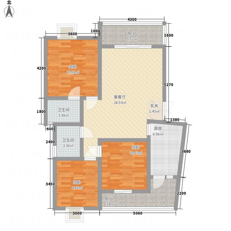 紫金名门13.76㎡户型3室2厅2卫1厨