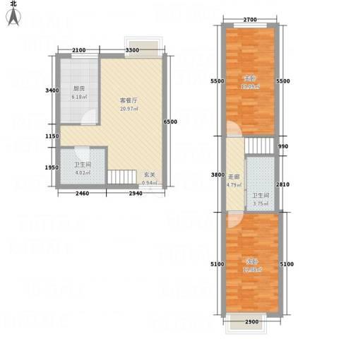 西岸国际2室1厅2卫1厨65.89㎡户型图