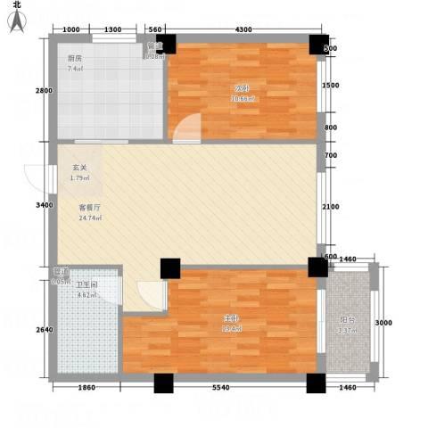 想想大厦2室1厅1卫1厨92.00㎡户型图