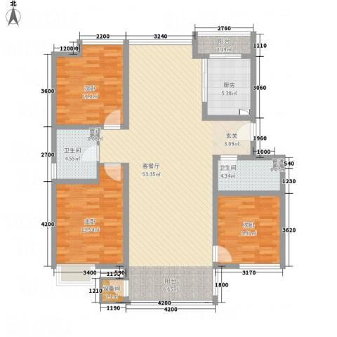 亿利傲东国际3室1厅2卫1厨125.00㎡户型图