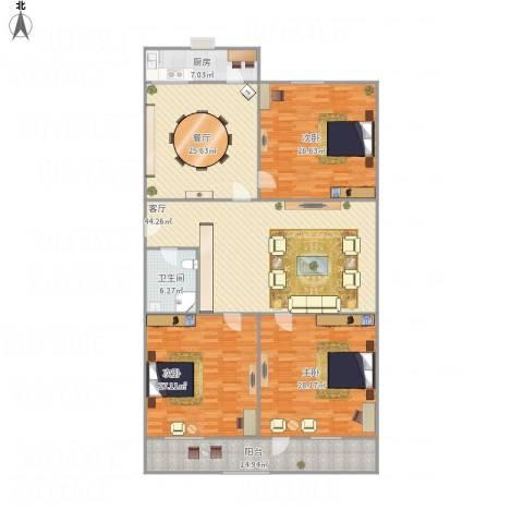 千鹤园小区3室2厅1卫1厨237.00㎡户型图