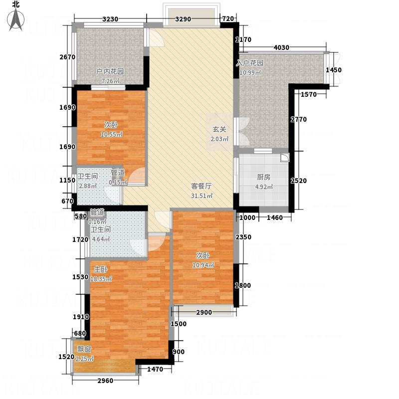 保利花园144.00㎡12栋02户型3室2厅2卫1厨