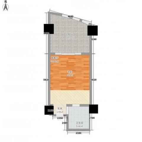 三亚湾海韵度假酒店1厅1卫0厨55.00㎡户型图