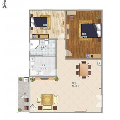 红棉苑2室1厅1卫1厨142.00㎡户型图