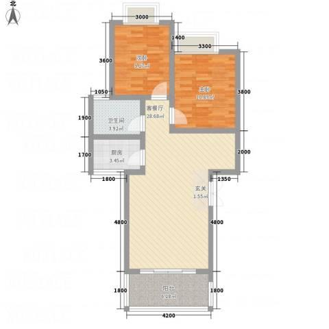 兴隆城市花园二期2室1厅1卫1厨90.00㎡户型图