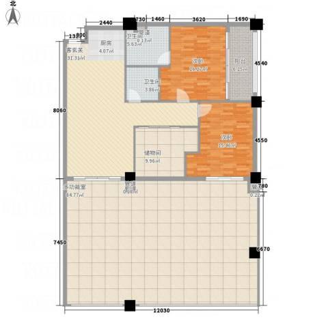 三亚湾国际公馆2室1厅2卫0厨182.00㎡户型图