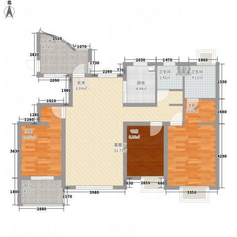 海航白金汇3室1厅2卫1厨128.00㎡户型图