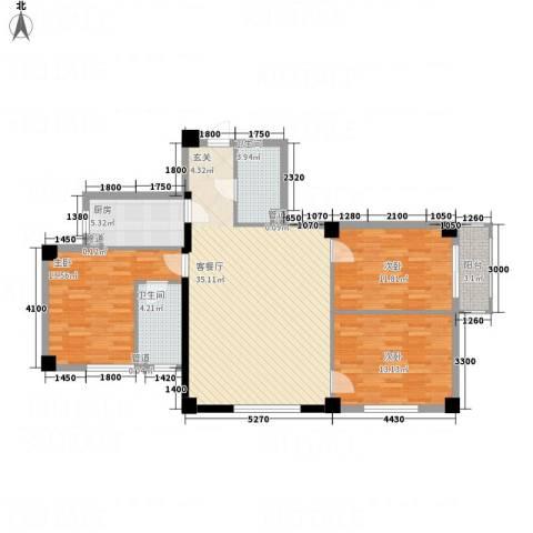 想想大厦3室1厅2卫1厨130.00㎡户型图