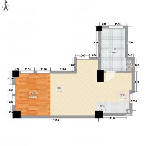 想想大厦1厅1卫0厨68.00㎡户型图