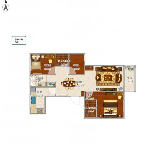 腾飞新城3室1厅1卫1厨84.00㎡户型图