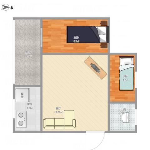 龙珠花园2室1厅1卫1厨64.00㎡户型图