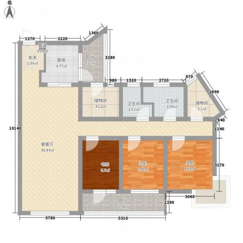中邦城市3室1厅2卫1厨103.04㎡户型图