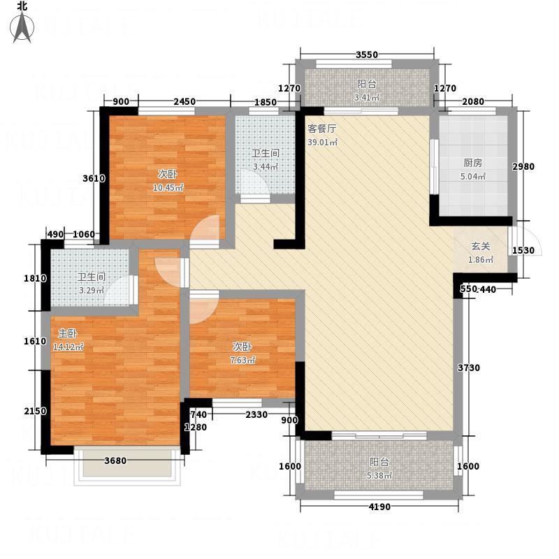 海亚・香樟园134.30㎡A1户型3室2厅2卫1厨