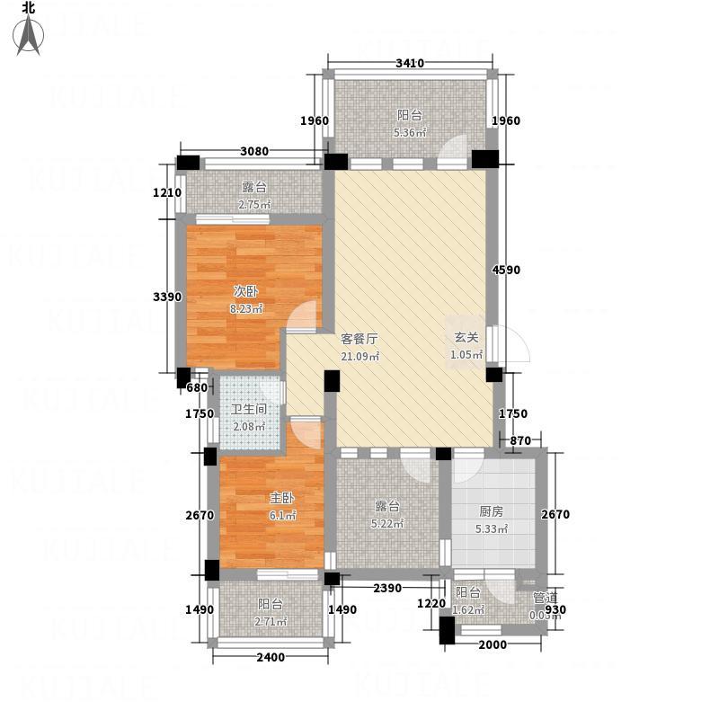 中铁堰澜山88.99㎡C型顶层户型2室2厅1卫1厨