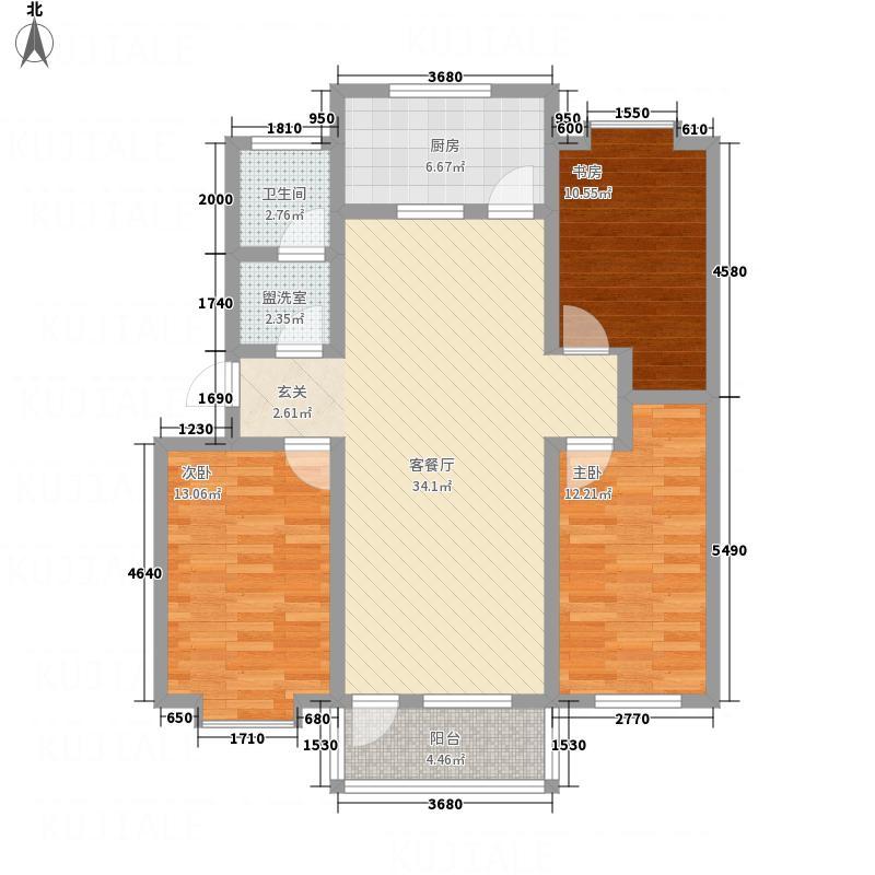 海德花园124.00㎡户型3室2厅1卫1厨