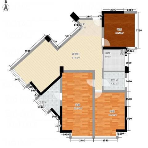 乐颐大厦3室1厅2卫1厨98.26㎡户型图