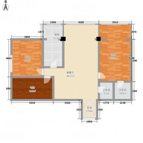 珠江名府3室1厅2卫1厨165.00㎡户型图