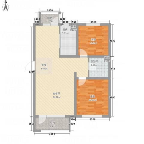 逸轩2室1厅1卫1厨102.00㎡户型图