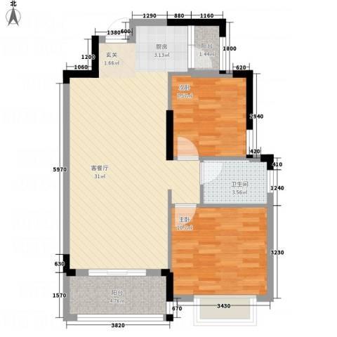 逸轩2室1厅1卫0厨59.04㎡户型图