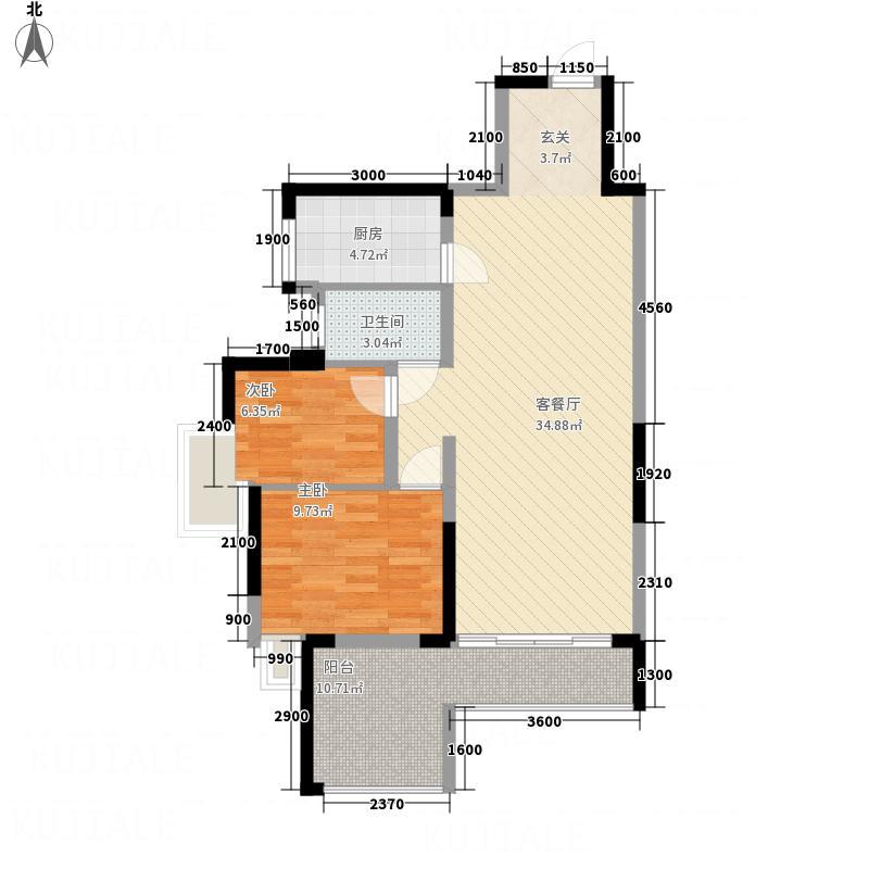 上品花园85.00㎡5栋04单元户型2室2厅1卫1厨