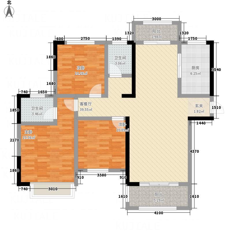 海亚・香樟园14.80㎡B1户型3室2厅2卫1厨