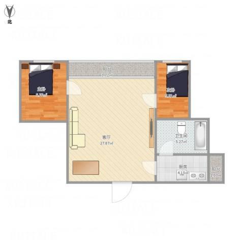 龙珠花园2室1厅1卫1厨76.00㎡户型图